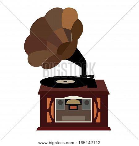 Isolated retro gramaphone on a white background, Vector illustration