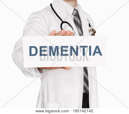 Doctor Holding A Card With Dementia, Medical Concept
