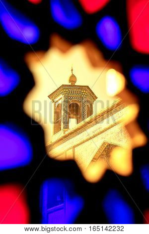 Iran, Shiraz - september 2016: Mosque Nasir al Mulk taken through the stained glass. Persia.