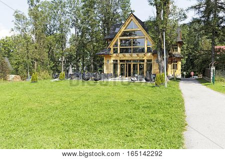 ZAKOPANE POLAND - SEPTEMBER 14 2016: The building dating from the early twentieth century. Nowadays is newly renovated and it houses the restaurant.