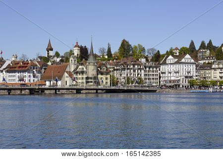 LUCERNE SWITZERLAND - MAY 05 2016: Panorama of the City shows the diversity of architecture and attractive location on the shores of Lake Lucerne and a Reuss river