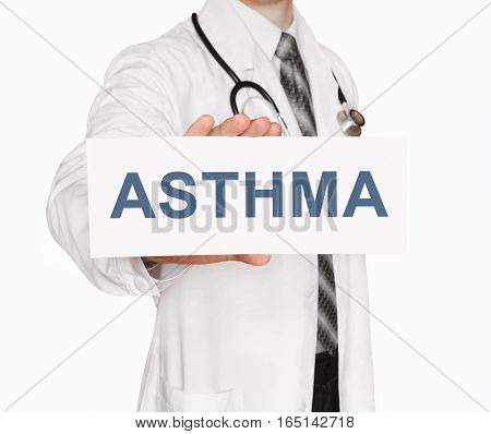 Doctor Holding A Card With Asthma, Medical Concept