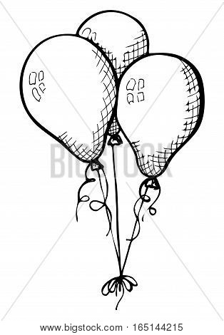 Three balloons on a string. Hand drawn isolated on a white background. Vector illustration.