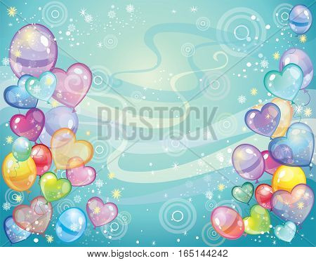 Colorful holiday background with balloons and confetti. Vector