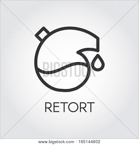 Black icon of retort drawing in outline style. Pixel perfect 48x48 px. Simple line logo for button desing, websites or mobile apps. Vector contour graphics