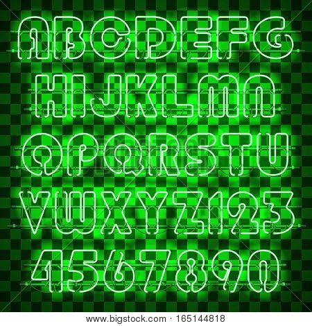 Glowing green neon alphabet with letters from A to Z and digits from 0 to 9. Shining and glowing neon effect. Every letter is separate unit with wires, tubes and holders and can be combined with other
