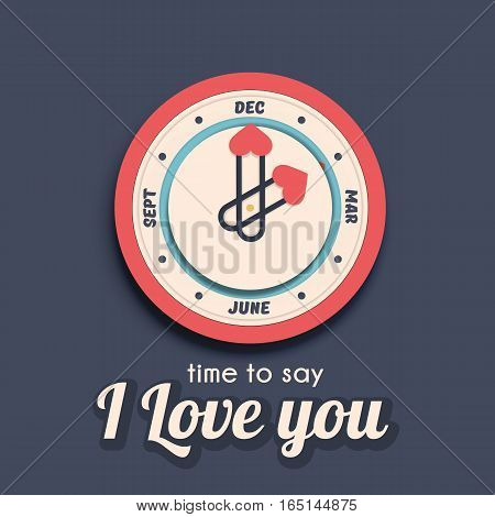 Vector clock with calendar deal. Time to say I love you - valentine day concept