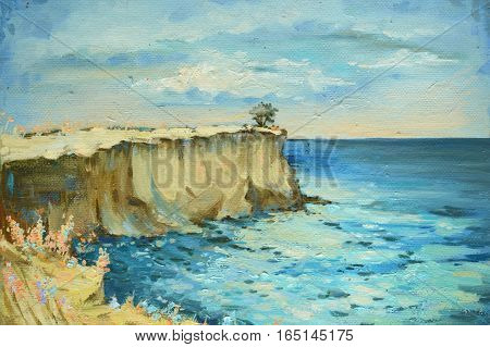 Bright marine summer landscape. Hand-draw oil painting.