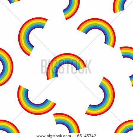 Rainbow background. Seamless pattern with colorful rainbows for kids holidays, textiles, interior design, book design. Cute abstract vector rainbow pattern nature background.