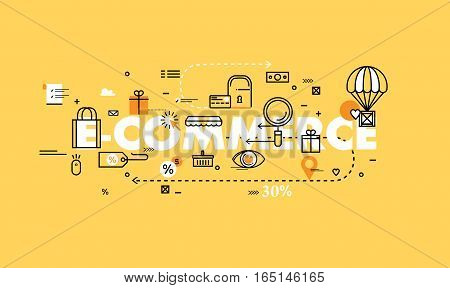 Word e-commerce flat line business vector illustration design banner. Concepts for online order and payment, e-commerce, delivery process, purchasing and online shopping for mobile and web graphics
