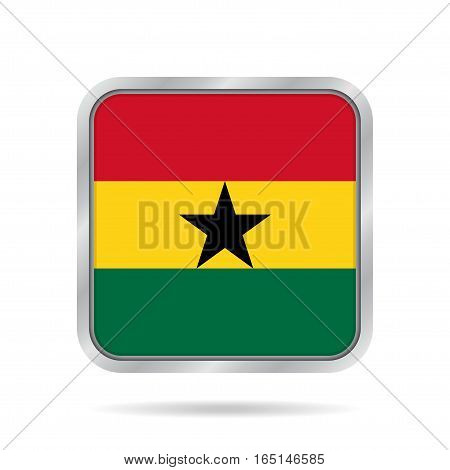 National flag of Ghana. Shiny metallic gray square button with shadow.