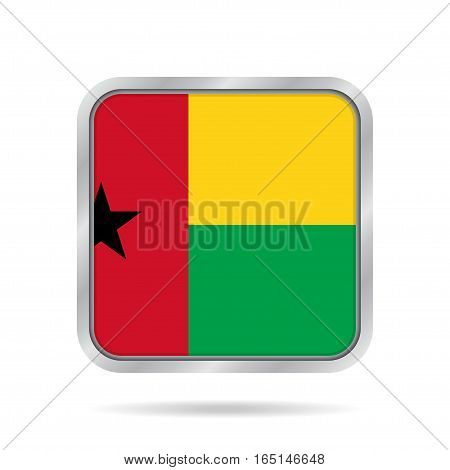 National flag of Guinea-Bissau. Shiny metallic gray square button with shadow.