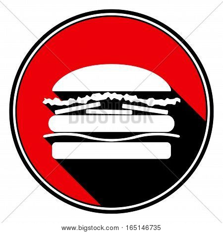 red round with border and black shadow - white hamburger icon