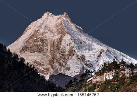White snow mountains peak panorama. Nepal, Manaslu