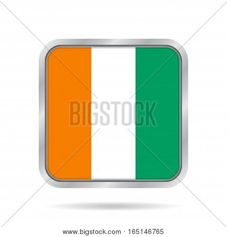 National flag of Ivory Coast. Shiny metallic gray square button with shadow.