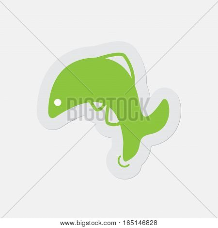 simple green icon with light gray contour and shadow - jumping fish dolphin on a white background