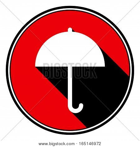 red round with border and black shadow - white umbrella icon