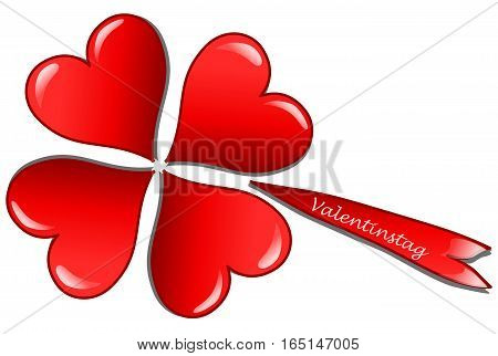 Four hearts in form of a clover leaf and the german word for valentine`s day (Valentinstag), 3D illustration