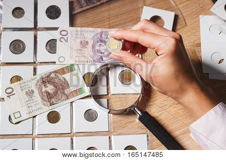 Woman Looks At The Polish Zloty