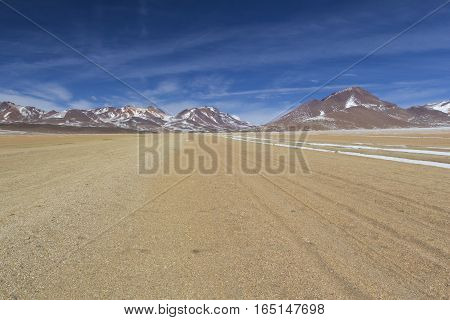 Atacama desert Bolivia with majestic colored mountains and blue sky in Eduardo Avaroa Andean Fauna National Reserve Bolivia