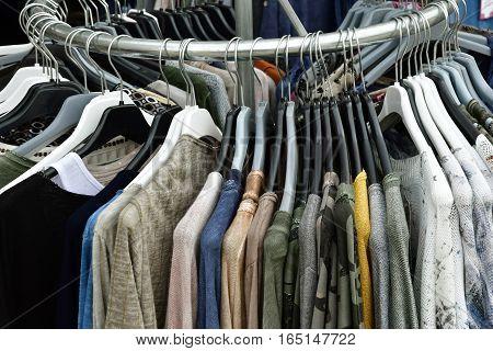 Le Bois Plage en Re France - september 27 2016 : clothes at the market