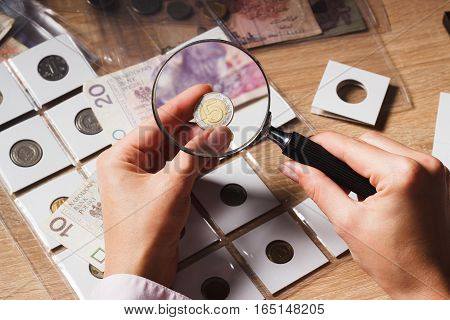 Woman Looks At The Zloty Through A Magnifying Glass