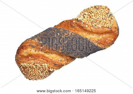 Bun with jam poppy seeds and sesame isolated on a white background