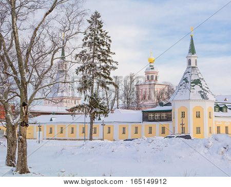 The Snowy ancient Orthodox monastery in Valdai