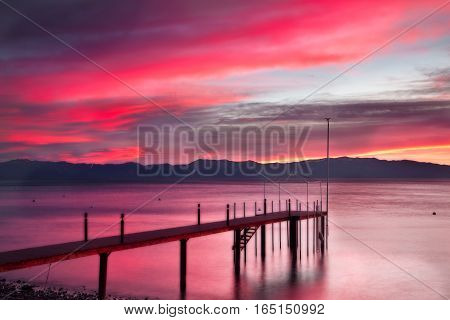Lake Tahoe is a large freshwater lake in the Sierra Nevada of the United States.