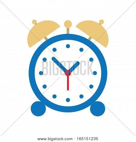 Alarm clock icon. Clock silhouette. Simple icon. Flat design style. vector illustration