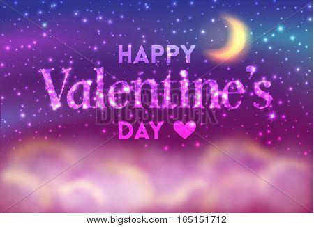 Romantic Valentines Day Card Of Night Sky