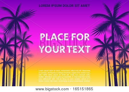 The Shadows Of Palm Trees On A Sunset Background With Space For Your Text.