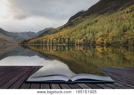 Beautiful Autumn Fall Landscape Image Of Lake Buttermere In Lake District England Coming Out Of Page