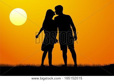 Silhouette kiss of young man and woman on sunset background vector illustration