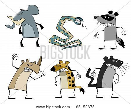 Vector illustration of a six strange animals