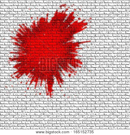 Spot of red paint on the gray brick wall. Vector background