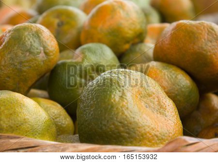 Close-up photography of a group of fresh tangerines