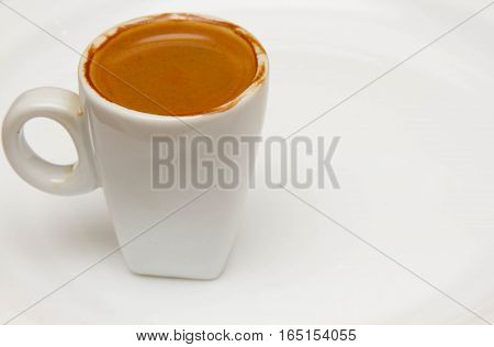 cup of coffee on white background, breakfast