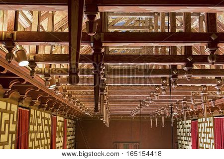 STOCKHOLM, SWEDEN - JUNE 27, 2016: This is ceiling of hall of the City Council of the Stockholm City Hall.