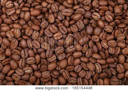 Roasted Arabica Coffee Beans Background Top View