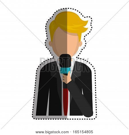 Journalist with microphone icon vector illustration graphic design