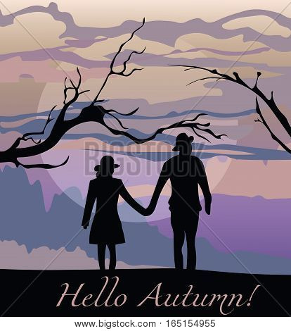 Scarecrows silhouette at sunset. Autumn background Vector