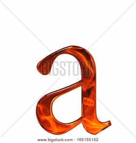 Lowercase Letter A - The Extruded Of Glass With Pattern Flame, Isolated On White Background