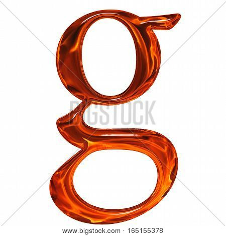 Lowercase Letter G - The Extruded Of Glass With Pattern Flame, Isolated On White Background