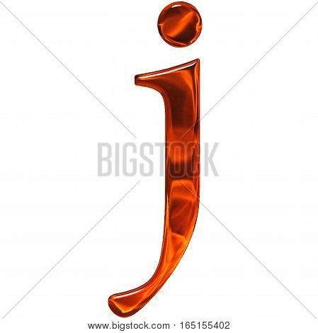 Lowercase Letter J - The Extruded Of Glass With Pattern Flame, Isolated On White Background