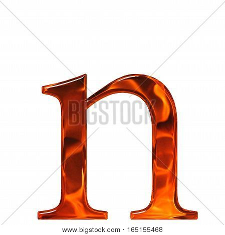 Lowercase Letter N - The Extruded Of Glass With Pattern Flame, Isolated On White Background