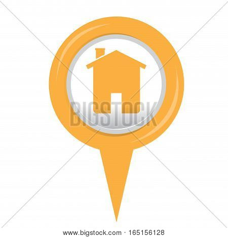 Isolated web pin with a house icon, Vector illustration