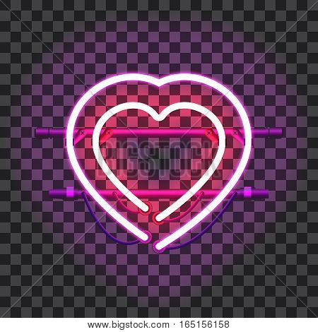 Red glowing neon heart surrounded with purple one with holders, brackets and wires isolated on transparent background. Shining and glowing neon effect. Valentines heart. Love and wedding symbol.