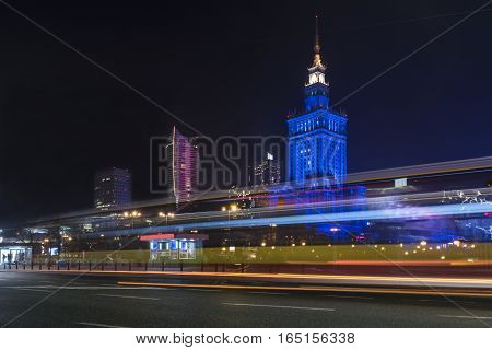 Palace of Culture in Warsaw at night time. Palace of culture was a gift from Stalin to Polish people in 50's.