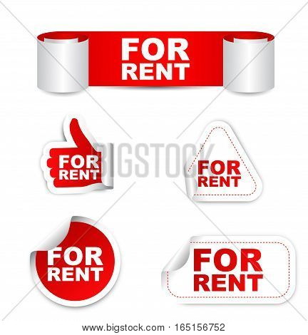 This is red vector paper sticker for rent
